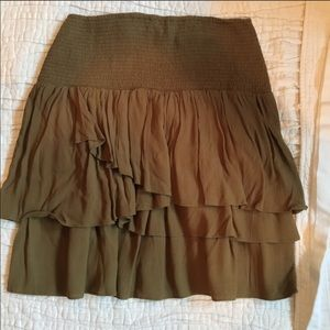 Garnet Hill olive green mini skirt